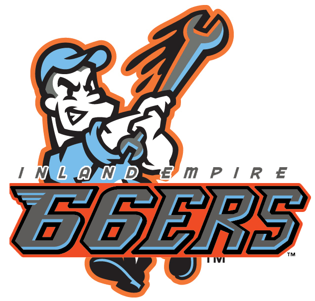 Inland Empire 66ers Logo Primary Logo (2014-Pres) - A mechanic wearing a baby blue uniform swings a wrench like a baseball bat with the team name in front SportsLogos.Net