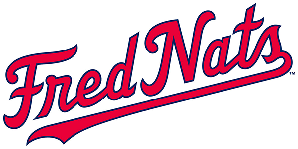 Fredericksburg Nationals Logo Jersey Logo (2020-Pres) - Fred Nats in red and blue script SportsLogos.Net