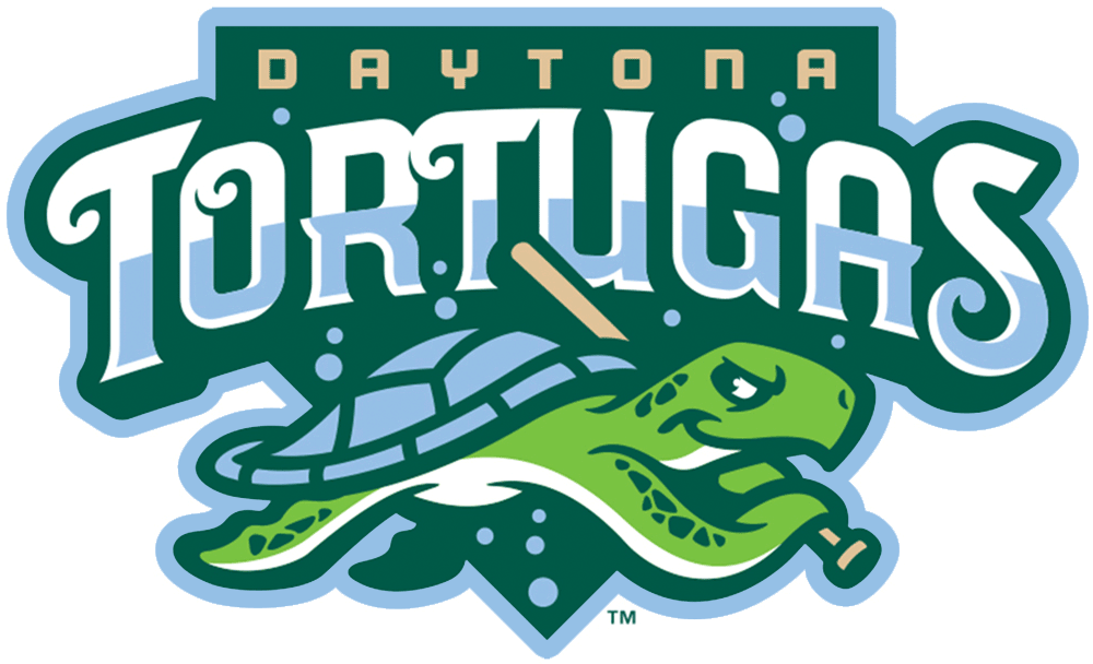 Daytona Tortugas Logo Primary Logo (2015-Pres) - A turtle holding a baseball bat as it swims below the team name on green SportsLogos.Net