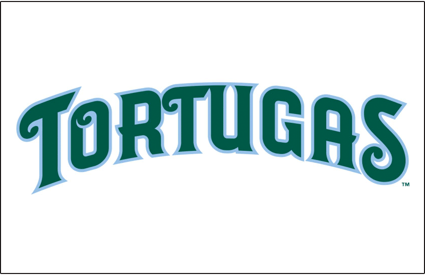 Daytona Tortugas Logo Jersey Logo (2015-Pres) - Tortugas in green with a light blue outline arched on white. Worn on Daytona Tortugas home jersey starting in 2015 SportsLogos.Net