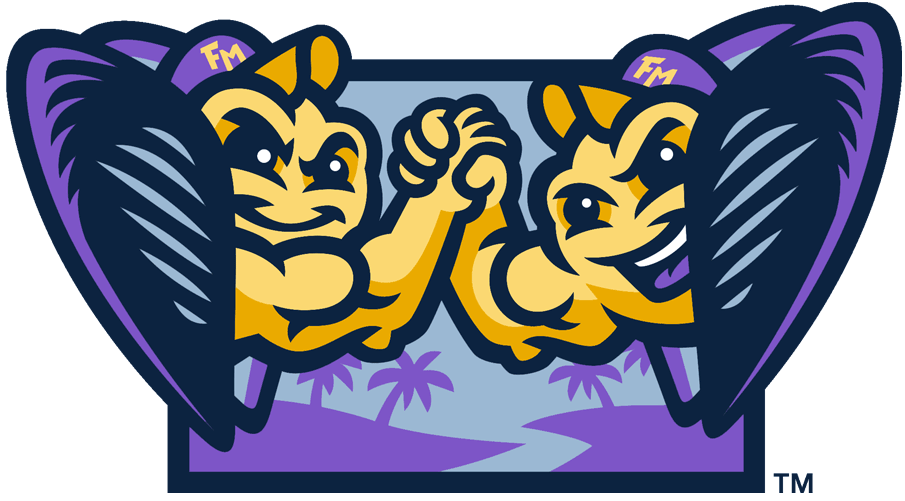 Fort Myers Mighty Mussels Logo Alternate Logo (2020-Pres) - Twin mussels in a shells wearing baseball caps, high fiving while in front of a Florida landscape -- a nod to the Minnesota Twins, their MLB affiliate SportsLogos.Net