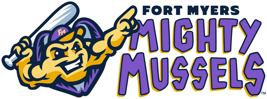 Fort Myers Mighty Mussels Logo Primary Logo (2020-Pres) - A mussel in a shell holding a baseball bat and calling its shot next to team name in purple and orange SportsLogos.Net