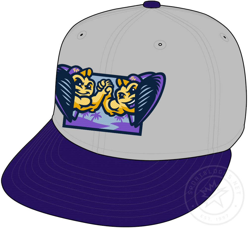 Fort Myers Mighty Mussels Cap Cap (2020-Pres) - Twin mussels logo on a grey crown with purple bill and button, worn as Mighty Mussels alternate cap starting in 2020 SportsLogos.Net