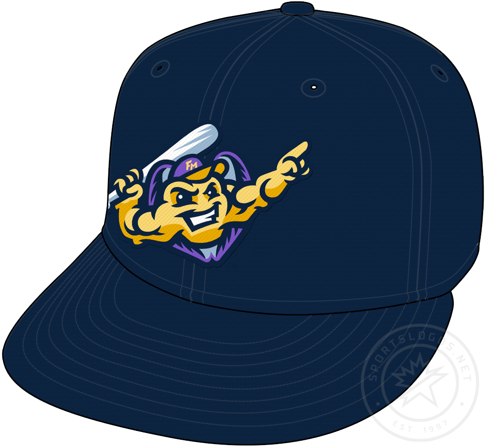 Fort Myers Mighty Mussels Cap Cap (2020-Pres) - Primary mussel logo on a navy blue cap, worn as Ft Myers Mighty Mussels main home and road cap starting in 2020 SportsLogos.Net