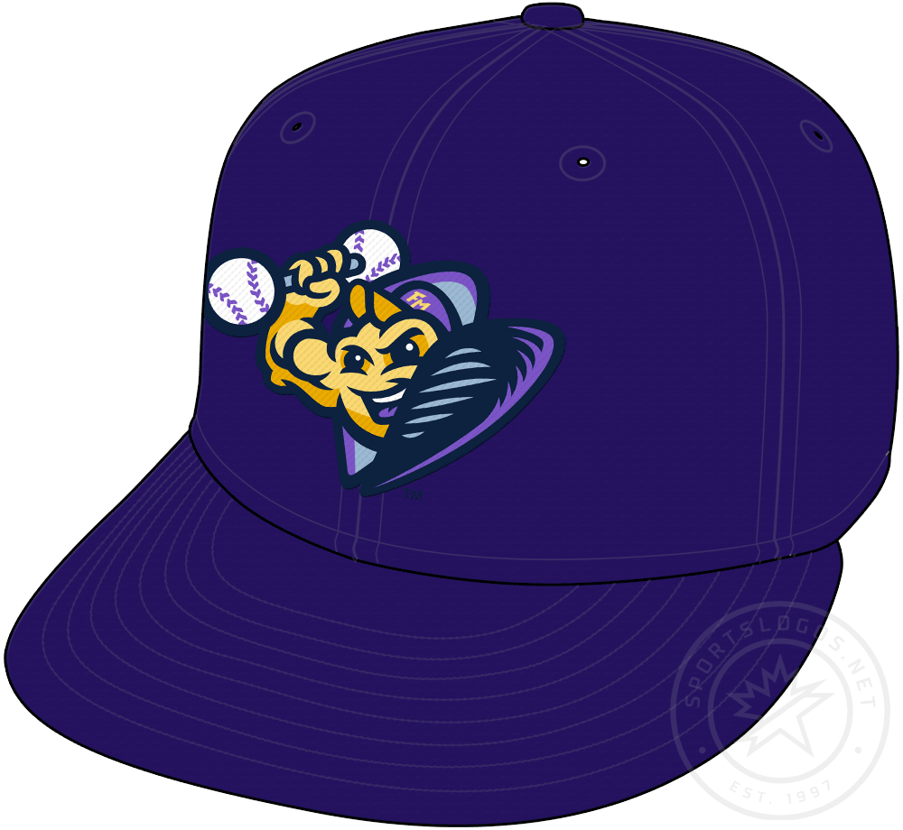 Fort Myers Mighty Mussels Cap Cap (2020-Pres) - Mussel logo lifting weights on a dark purple cap, worn as Ft Myers Mighty Mussels alternate cap starting in 2020 SportsLogos.Net