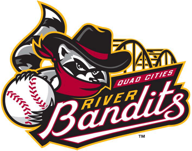 Quad Cities River Bandits Logo Primary Logo (2014-Pres) - Previous logo updated to include two archways of the Centennial Bridge SportsLogos.Net