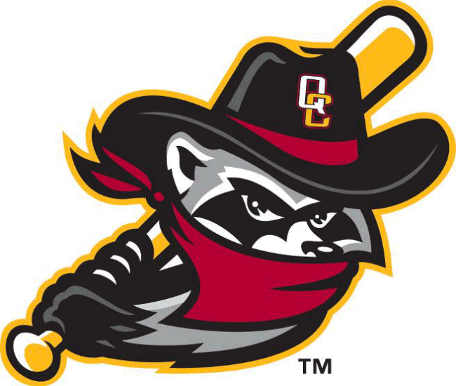 Quad Cities River Bandits Logo Alternate Logo (2014-Pres) - A grey raccoon wearing a red bandana over its face, a black cowboy hat with the city initials on its head, and swinging a baseball bat SportsLogos.Net
