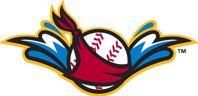 Quad Cities River Bandits Logo Alternate Logo (2014-Pres) - A baseball wearing a red bandana splashing into the Mississippi River SportsLogos.Net