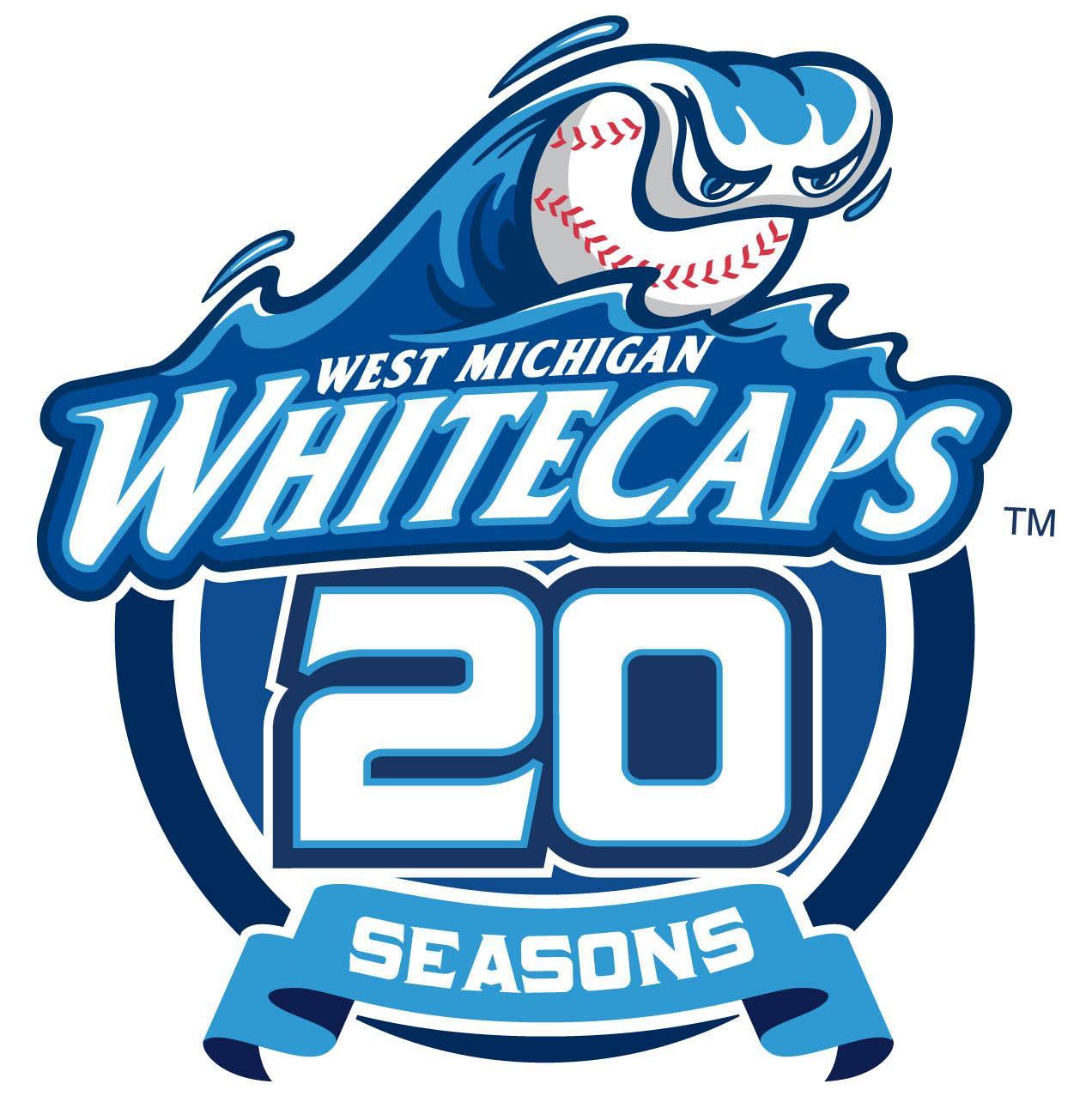 West Michigan Whitecaps Logo Anniversary Logo (2013) - West Michigan Whitecaps 20th Season Logo SportsLogos.Net