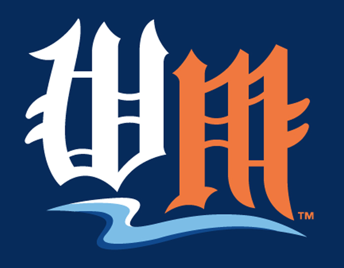 West Michigan Whitecaps Logo Cap Logo (2013-Pres) - An olde-english W in white and M in orange on navy blue, a tribute to the Whitecaps MLB affiliate the Detroit Tigers SportsLogos.Net