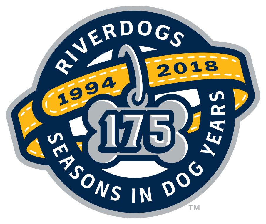 Charleston Riverdogs Logo Anniversary Logo (2018) - Charleston Riverdogs 25th season logo (or their 175th season in dog years) SportsLogos.Net