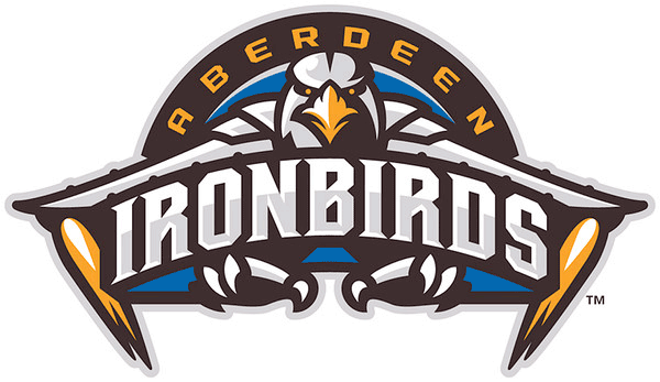 Aberdeen IronBirds Logo Primary Logo (2013-Pres) - An iron bird with flames firing out of its wings like a jet with claws out in silver and orange on a blue background and a black and orange semi-circle.  Team name across and above. SportsLogos.Net