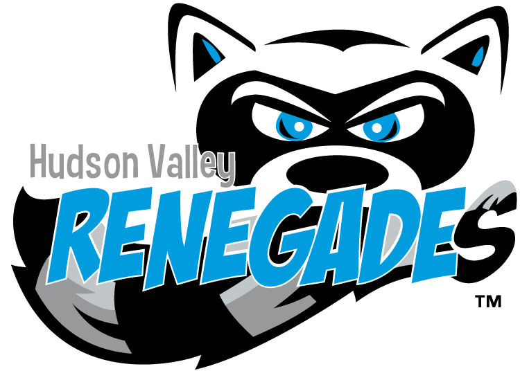 Hudson Valley Renegades Logo Primary Logo (2013-Pres) - A black and silver raccoon face and tail behind team name in light blue SportsLogos.Net