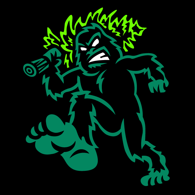 Eugene Emeralds Logo Cap Logo (2013-Pres) - A green and black sasquatch walking while carrying a pine tree over its shoulder. Worn on Emeralds Road cap  SportsLogos.Net