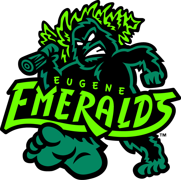 Eugene Emeralds Logo Primary Logo (2013-Pres) - A sasquatch or Bigfoot carrying an evergreen tree over its shoulder while walking with team name ahead.  Colours are Emerald Green, Sasquatch Black and Neon Green SportsLogos.Net
