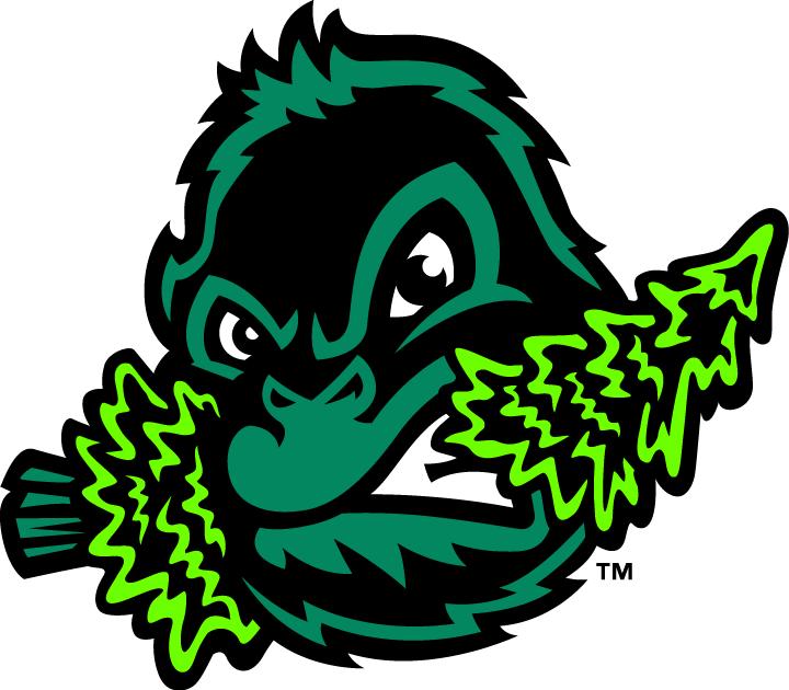 Eugene Emeralds Logo Alternate Logo (2013-Pres) - A green and black sasquatch head chomping down on a pine tree.   SportsLogos.Net