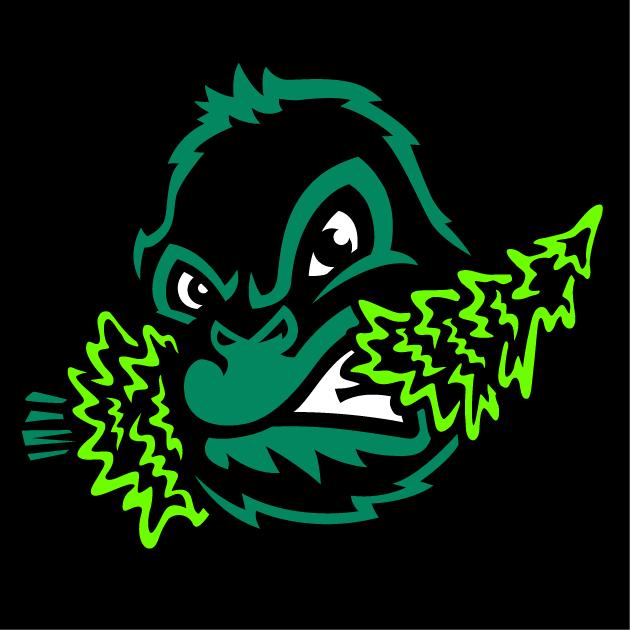 Eugene Emeralds Logo Cap Logo (2013-Pres) - A green and black sasquatch head chomping down on a pine tree. Worn on Emeralds Home cap  SportsLogos.Net