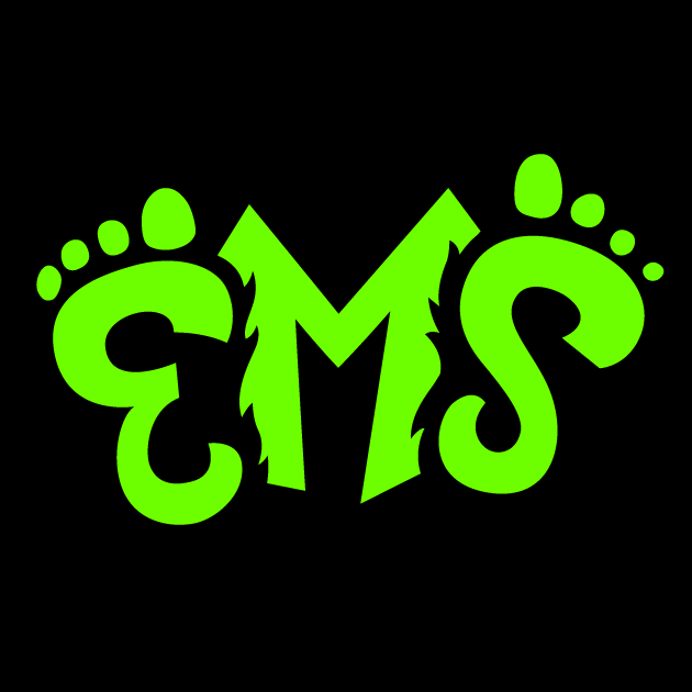 Eugene Emeralds Logo Cap Logo (2013-Pres) - EMS (short for Emeralds) in neon green, the E and S in the shape of sasquatch feet, the M in the shape of a mountain. Worn on Emeralds Batting Practice cap.  SportsLogos.Net