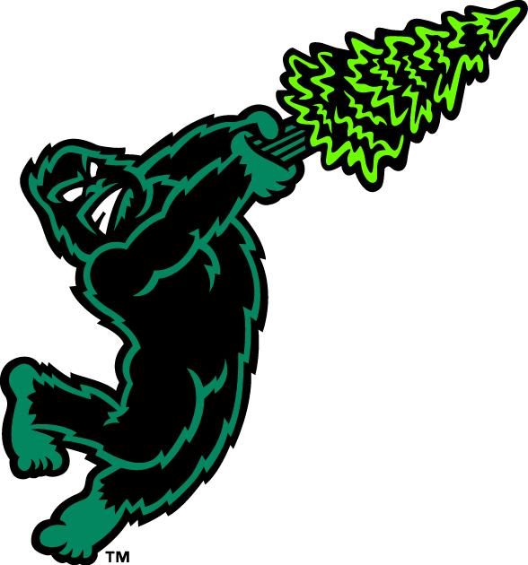 Eugene Emeralds Logo Alternate Logo (2013-Pres) - A green and black sasquatch swinging a pine tree like a baseball bat SportsLogos.Net