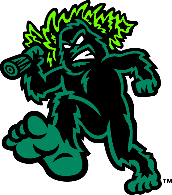 Eugene Emeralds Logo Alternate Logo (2013-Pres) - A green and black sasquatch walking while carrying a pine tree over its shoulder SportsLogos.Net