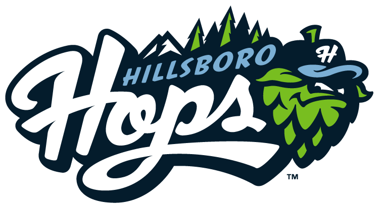 Hillsboro Hops Logo Primary Logo (2013-Pres) - A green hop cone wearing a blue baseball cap with a white H on it in front of a typical Oregon landscape, Mount Hood and evergreen pine trees.  SportsLogos.Net