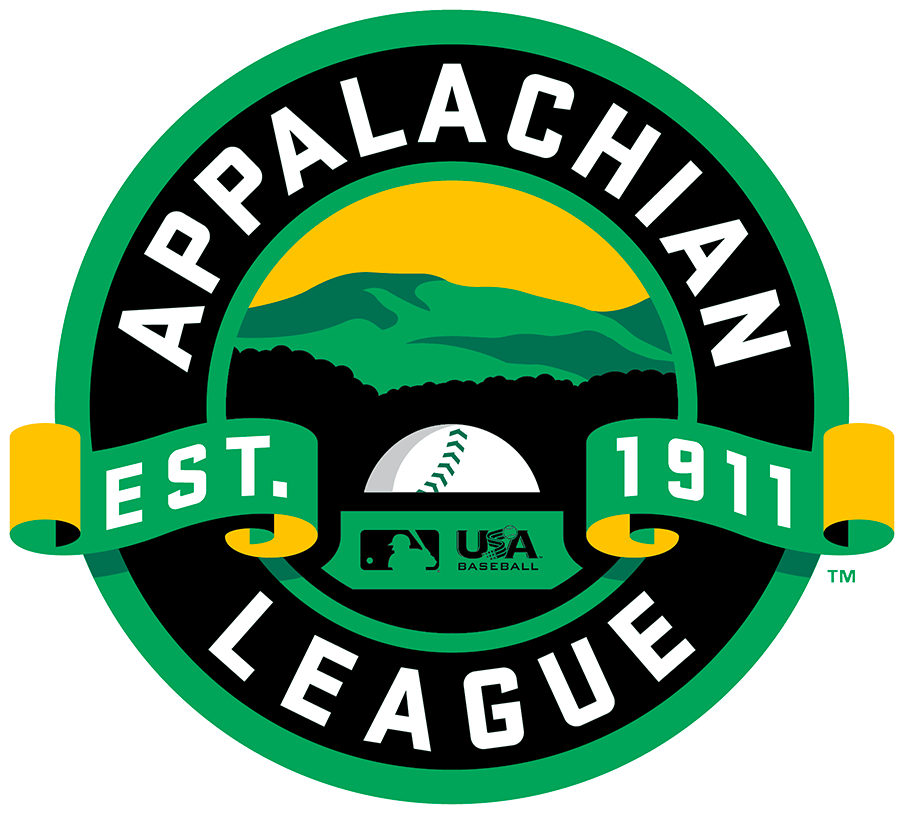 Appalachian League Logo Primary Logo (2020-Pres) - Upon the forming of a new partnership with Major League Baseball and USA Baseball, the Appalachian League altered their league logo. The previous logo was left largely the same but with the addition of both the MLB and USA Baseball logos in the centre of the design replacing what was previously a baseball.  SportsLogos.Net
