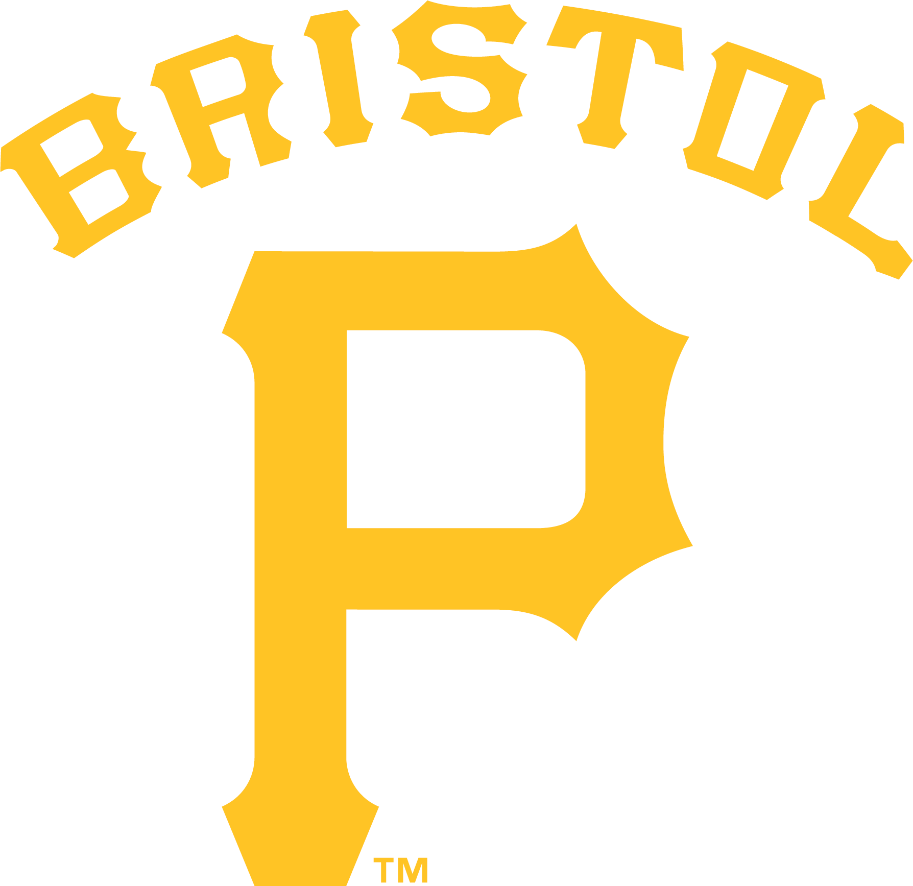 Bristol Pirates Logo Primary Logo (2014-2020) - The yellow P logo used by the Pittsburgh Pirates (MLB affiliate) with BRISTOL arched over in the same font SportsLogos.Net