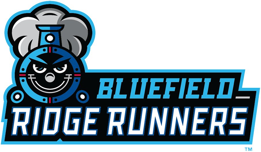 Bluefield Ridge Runners Logo Primary Logo (2021-Pres) - The Bluefield Ridge Runners logo features a black and blue train racing towards the viewer with the team name scripted to the right. SportsLogos.Net