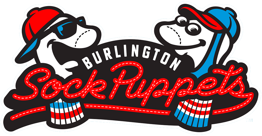 Burlington Sock Puppets Logo Primary Logo (2021-Pres) - The Burlington Sock Puppets logo shows two white sock puppets, one with a blue stirrup around it, both wearing blue and red ballcaps, one with sunglasses, and the team name scripted across in red SportsLogos.Net