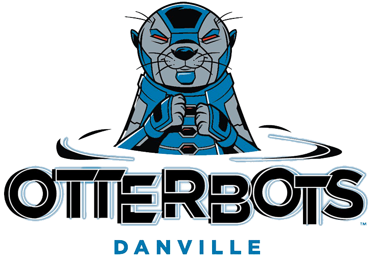 Danville Otterbots Logo Primary Logo (2021-Pres) - The Danville Otterbots logo shows a black, silver, and blue robot otter peering out from the water, the team name written below in black and blue SportsLogos.Net