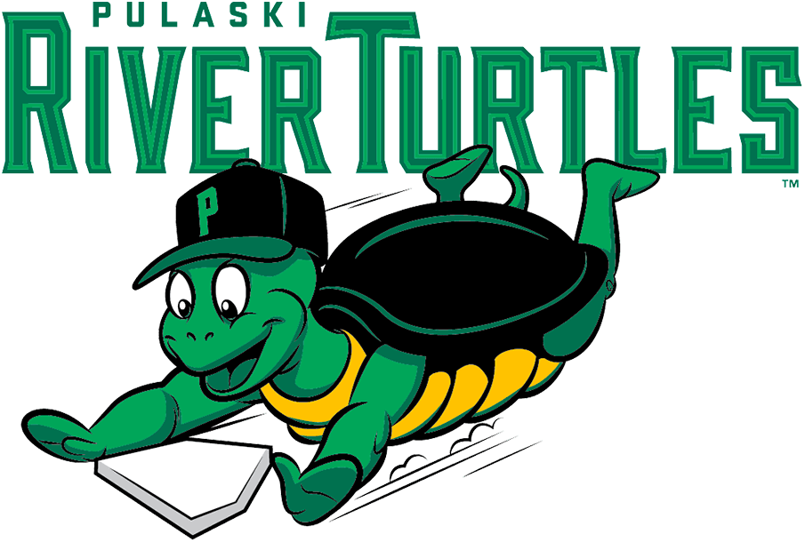 Pulaski River Turtles Logo Primary Logo (2021-Pres) - The Pulaski River Turtles logo shows a green, yellow, and black turtle sliding into home plate while wearing a black baseball cap, a green P on the front of the cap. The team name is written above in green lettering SportsLogos.Net
