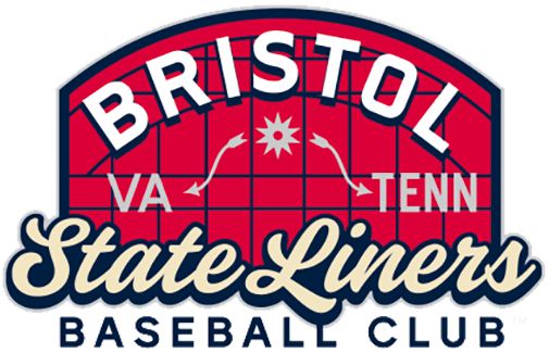 Bristol State Liners Logo Primary Logo (2021-Pres) - The Bristol State Liners primary logo mimicks a red welcome sign with the city name arched above, the two states (Virginia and Tennessee) that Bristol calls home and the State Liners name scripted in beige and blue SportsLogos.Net
