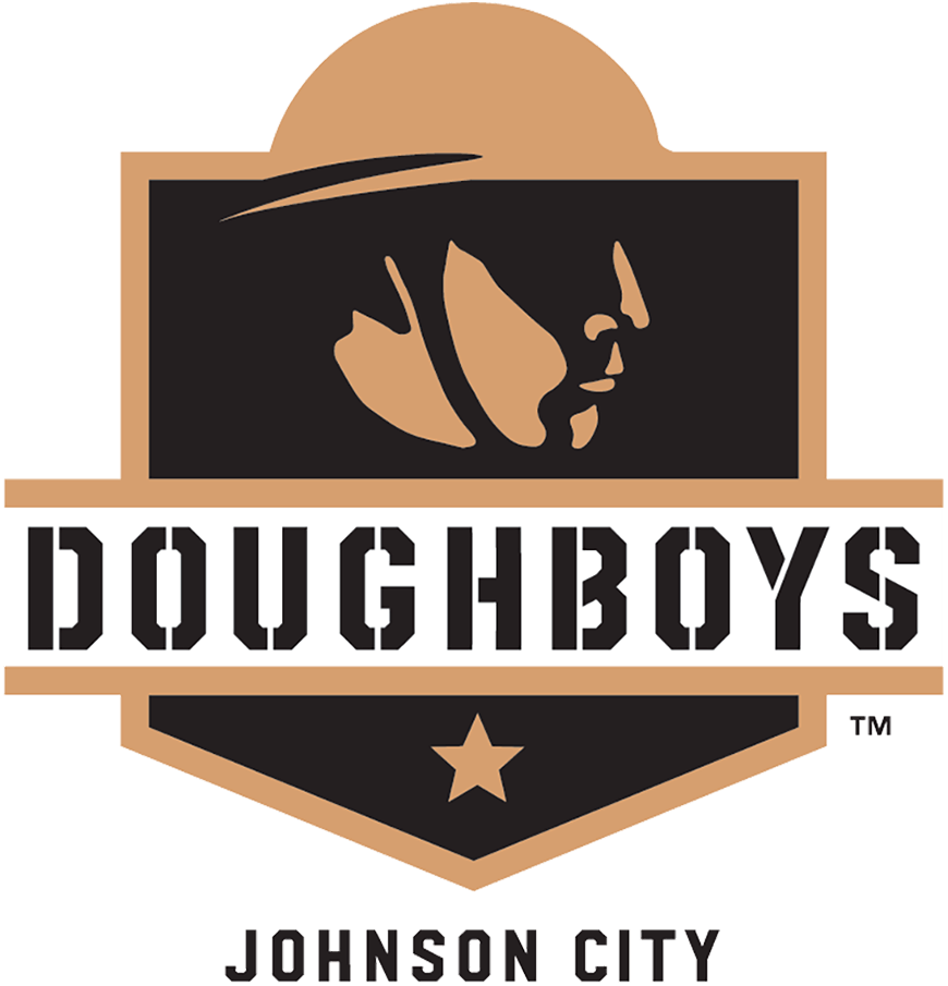 Johnson City Doughboys Logo Primary Logo (2021-Pres) - A gold and black depiction of a World War I soldier on a black and gold shield with the team name across in stencil style font and a single gold star below SportsLogos.Net