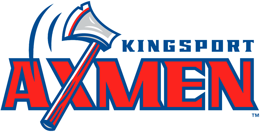 Kingsport Axmen Logo Primary Logo (2021-Pres) - The Kingsport Axmen logo shows a red and blue axe swinging through the air with the club's name off to the right SportsLogos.Net