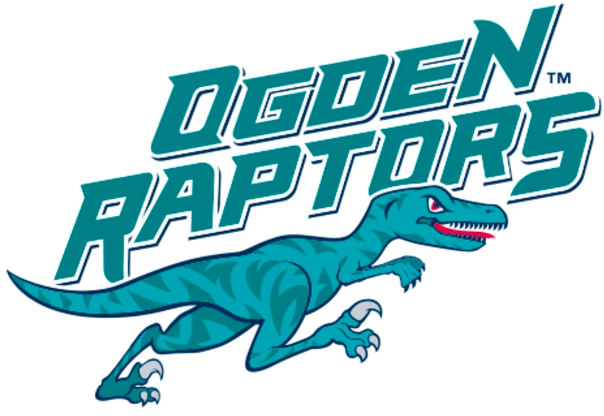 Ogden Raptors Logo Primary Logo (2016-Pres) - In 2016 the Ogden Raptors made the first logo change in team history, the logo showed a modified raptor dinosaur in green with its red tongue sticking out and running below the team name SportsLogos.Net