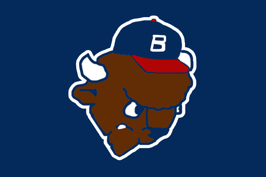 Buffalo Bisons Logo Cap Logo (1987) - The head of Buster the Bison wearing a ball cap on navy blue SportsLogos.Net