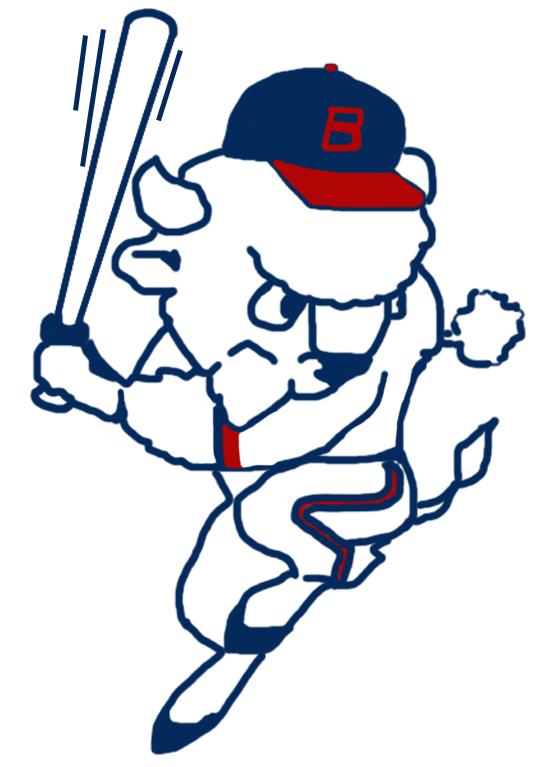 Buffalo Bisons Logo Primary Logo (1988) - Buster the Bison in a hitting pose in red, white, and blue SportsLogos.Net