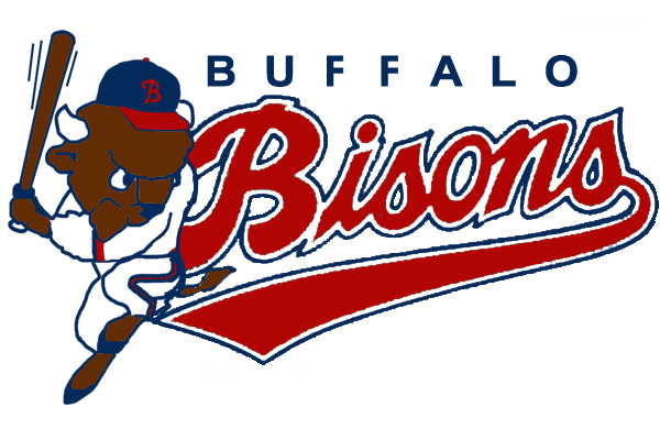 Buffalo Bisons Logo Primary Logo (1989-1997) - A bison in the batting stance next to the team script in red and blue SportsLogos.Net