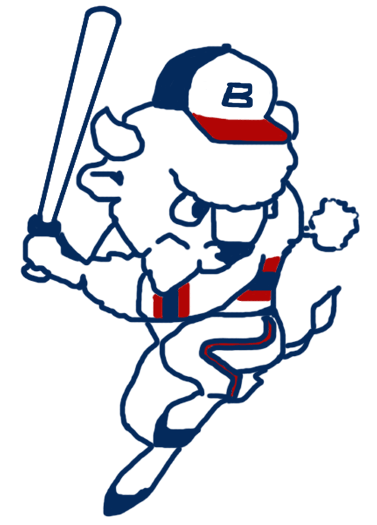 Buffalo Bisons Logo Alternate Logo (1985-1987) - Buster the Bison in a red, white, and blue colour scheme in a hitting pose while wearing the Bisons' Chicago White Sox inspired uniform of the time SportsLogos.Net