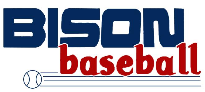 Buffalo Bisons Logo Wordmark Logo (1985-1988) - Bison Baseball written in red and blue with a baseball bat below SportsLogos.Net