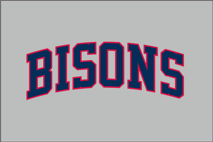 Buffalo Bisons Logo Jersey Logo (1987) - BISONS arched in blue and red block lettering on grey, worn on front of Buffalo Bisons road uniforms in 1987 SportsLogos.Net