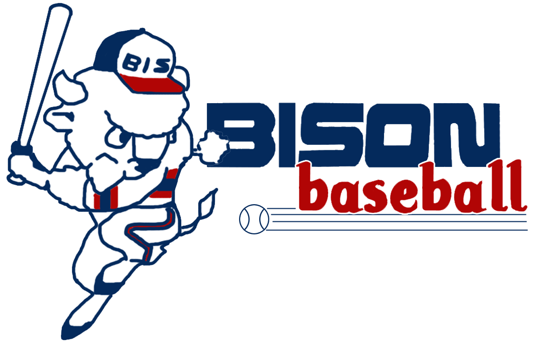 Buffalo Bisons Logo Primary Logo (1985-1987) - Buster the Bison in a hitting pose next to BISON BASEBALL in red and blue and an approaching baseball SportsLogos.Net