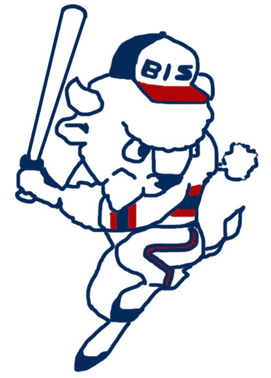 Buffalo Bisons Logo Alternate Logo (1985-1986) - Buster the Bison in a hitting pose in red, white, and blue SportsLogos.Net
