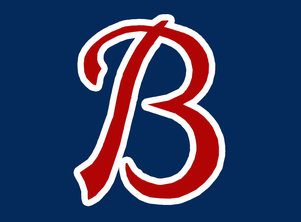 Buffalo Bisons Logo Cap Logo (1988-1997) - A script red B outlined in white on navy blue SportsLogos.Net