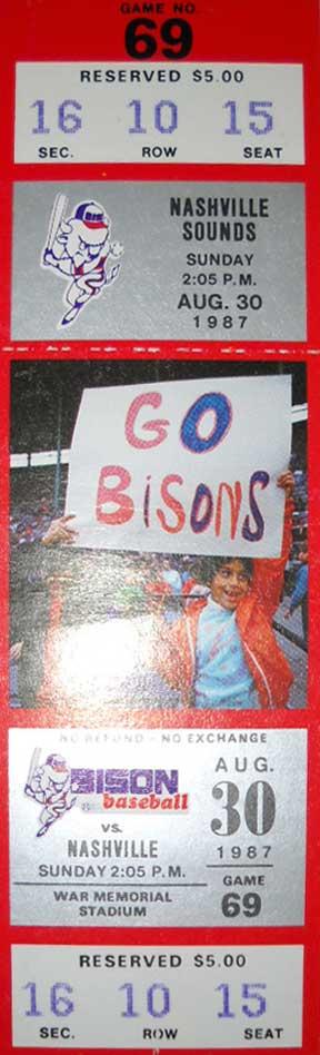 Buffalo Bisons Ticket Stub Ticket Stub (1987) - Buffalo Bisons Ticket Stub from August 30, 1987 vs Nashville Sounds - last game at Buffalo War Memorial Stadium SportsLogos.Net