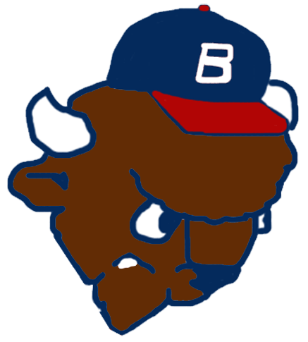 Buffalo Bisons Logo Alternate Logo (1985-1987) - The head of Buster the Bison wearing a ball cap SportsLogos.Net