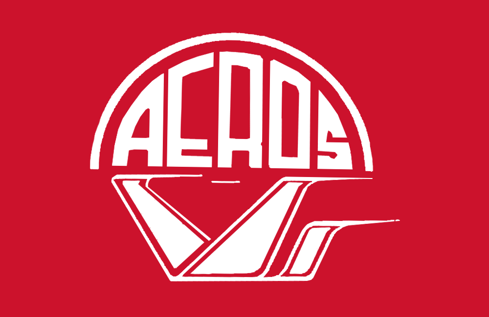 Wichita Aeros Logo Cap Logo (1984) - A flying machine under the team name in a semi-circle, all in white on a red background SportsLogos.Net