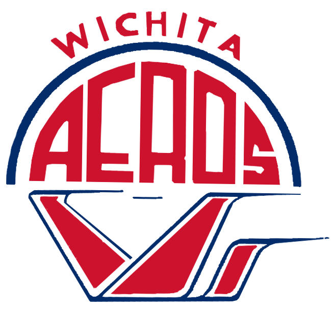 Wichita Aeros Logo Primary Logo (1970-1983) - A blue and red flying machine under AEROS in red and a blue semicircle with city name above SportsLogos.Net