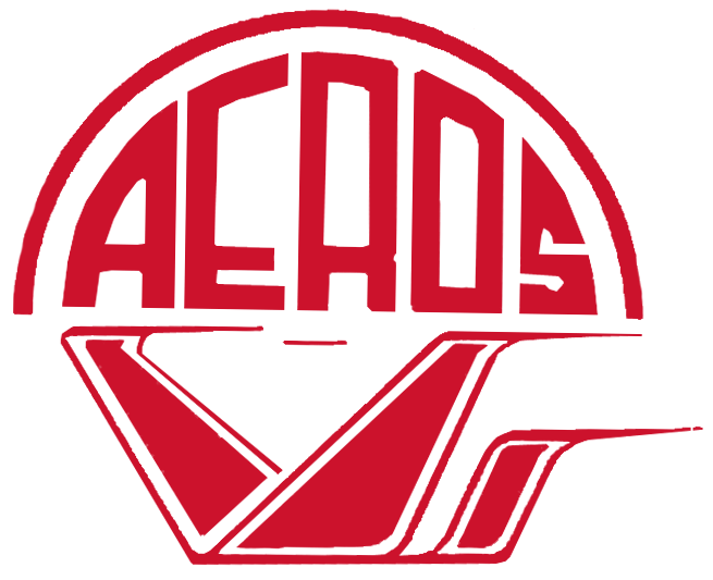 Wichita Aeros Logo Primary Logo (1984) - A red flying object below team name in a semi-circle also in red SportsLogos.Net