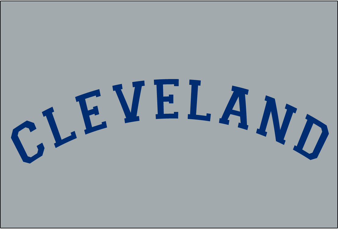 Cleveland Naps Logo Jersey Logo (1913-1914) - CLEVELAND in blue arched collegiate-style block font on grey, worn on Naps road uniform from 1913-14 SportsLogos.Net